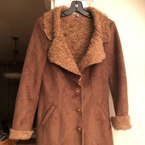 MONORENO FAUX SUEDE AND FUR 3/4 LENGTH COAT